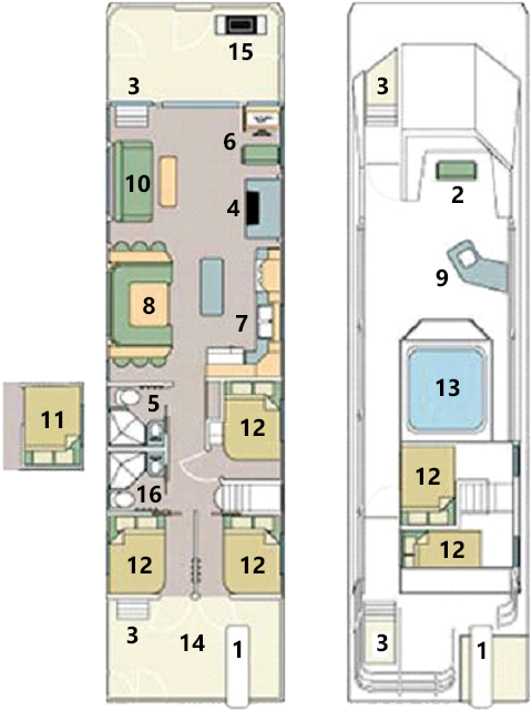Mirage 56 houseboat layout.